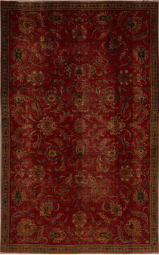 "Tabriz Red Hand Knotted 5'10"" X 9'4""  Area Rug 301-135834"