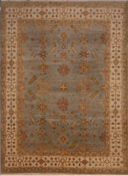 "Oushak Blue Hand Knotted 9'1"" X 11'10""  Area Rug 301-135853"