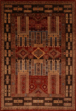 "Pishavar Multicolor Hand Knotted 9'0"" X 12'0""  Area Rug 301-135877"