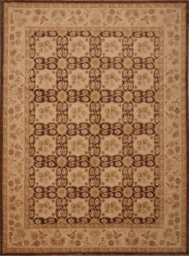 "Pishavar Brown Hand Knotted 9'0"" X 12'3""  Area Rug 301-135882"