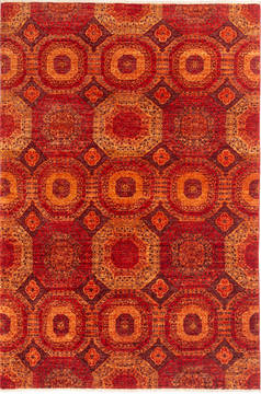 "Chobi Red Hand Knotted 5'5"" X 8'0""  Area Rug 700-135917"