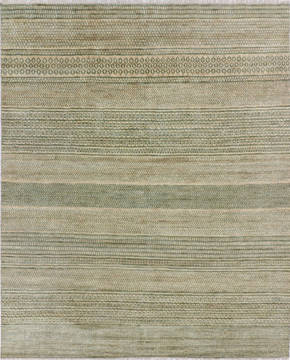 "Modern Green Hand Knotted 8'0"" X 10'2""  Area Rug 904-135966"