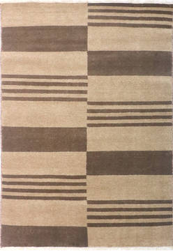 Indian Modern Beige Rectangle 4x6 ft Wool and Cotton Carpet 135968