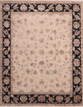 Indian Jaipur Beige Rectangle 8x10 ft Wool and Raised Silk Carpet 135977