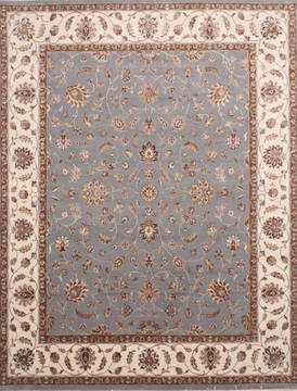 Indian Jaipur Blue Rectangle 8x10 ft Wool and Raised Silk Carpet 135981