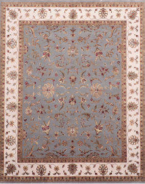 Indian Jaipur Blue Rectangle 8x10 ft Wool and Raised Silk Carpet 135982