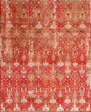 "Floral Red Hand Made 8'0"" X 10'0""  Area Rug 902-135995"