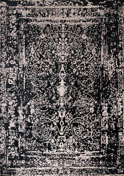 "Floral Black Hand Made 8'6"" X 11'6""  Area Rug 902-135997"