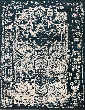 "Modern-Contemporary Blue Hand Made 8'6"" X 11'6""  Area Rug 902-136031"