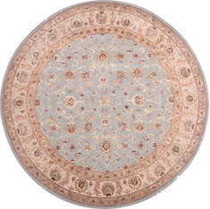 Indian Jaipur Blue Round 7 to 8 ft Wool and Raised Silk Carpet 136041