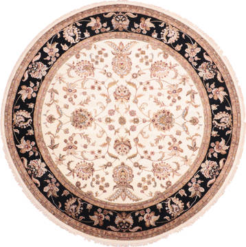 "Jaipur White Round Hand Knotted 8'1"" X 8'1""  Area Rug 905-136042"