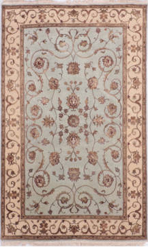 Indian Jaipur Blue Rectangle 4x6 ft Wool and Raised Silk Carpet 136044