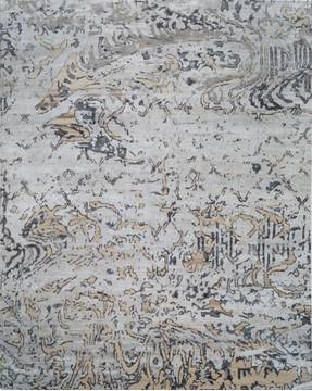 "Modern Grey Hand Knotted 8'0"" X 10'0""  Area Rug 903-136134"