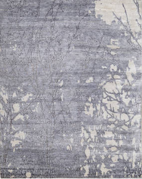"Modern Grey Hand Knotted 8'0"" X 10'0""  Area Rug 903-136153"