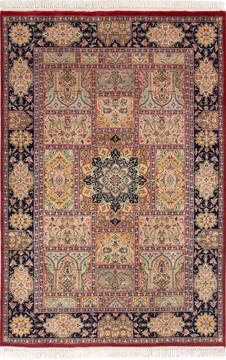 "Pak-Persian Red Hand Knotted 4'1"" X 6'1""  Area Rug 700-136182"