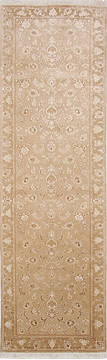 Persian Tabriz Beige Runner 6 to 9 ft Wool and Silk Carpet 136196