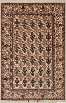 Persian Isfahan Beige Rectangle 4x6 ft Wool and Silk Carpet 136197