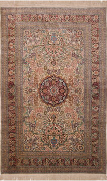 Chinese Hereke Beige Rectangle 5x8 ft Silk Carpet 136202