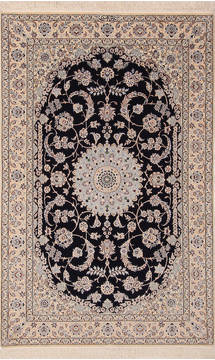 "Nain White Hand Knotted 4'1"" X 6'5""  Area Rug 254-136203"