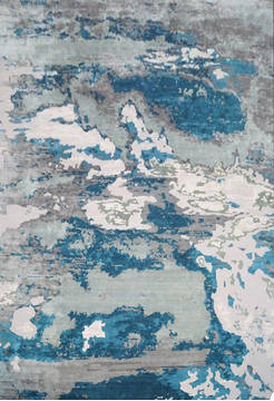 "Modern Blue Hand Knotted 10'0"" X 14'0""  Area Rug 903-136219"