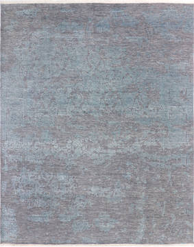 "Modern Grey Hand Knotted 8'1"" X 9'10""  Area Rug 904-136260"