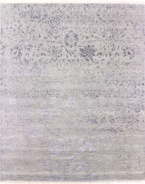 "Modern Grey Hand Knotted 8'1"" X 10'2""  Area Rug 904-136264"