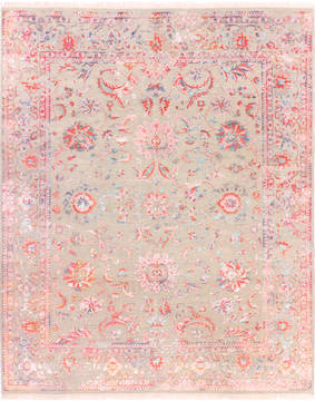 "Modern Grey Hand Knotted 8'1"" X 9'10""  Area Rug 904-136273"
