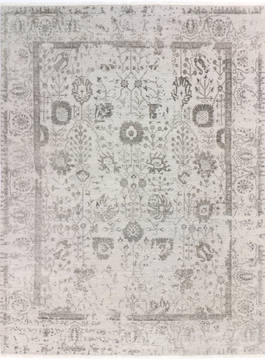 Indian Modern Grey Rectangle 8x10 ft Wool and Viscose Carpet 136277