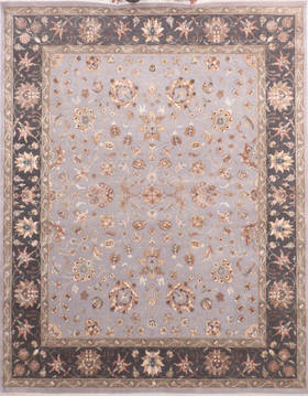 Indian Jaipur Grey Rectangle 8x10 ft Wool and Silk Carpet 136291