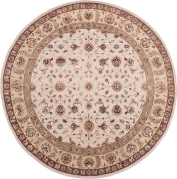 "Jaipur White Round Hand Knotted 8'3"" X 8'4""  Area Rug 905-136293"