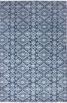 "Floral Blue Hand Knotted 6'0"" X 9'4""  Area Rug 904-136303"