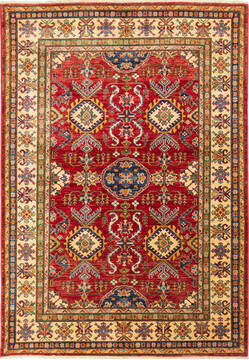 "Kazak Red Hand Knotted 4'10"" X 6'11""  Area Rug 700-136331"