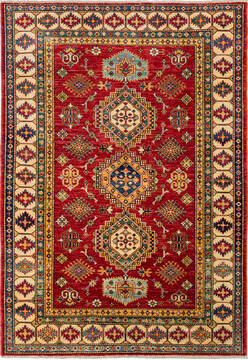 "Kazak Red Hand Knotted 4'11"" X 6'6""  Area Rug 700-136334"