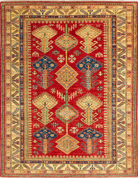 "Kazak Red Hand Knotted 4'11"" X 6'3""  Area Rug 700-136338"