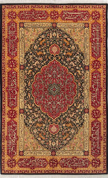 "Pak-Persian Black Hand Knotted 4'7"" X 7'3""  Area Rug 700-136369"