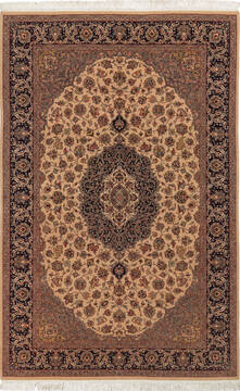"Pak-Persian Beige Hand Knotted 4'6"" X 7'0""  Area Rug 700-136373"