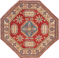 "Kazak Red Octagon Hand Knotted 6'1"" X 6'4""  Area Rug 700-136384"