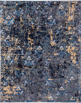 "Modern Grey Hand Knotted 8'0"" X 9'11""  Area Rug 700-136434"