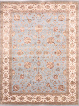 Indian Jaipur Blue Rectangle 9x12 ft Wool and Silk Carpet 136465