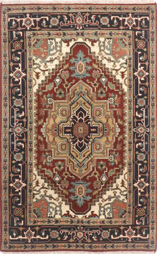 "Vintage Multicolor Hand Knotted 4'0"" X 6'0""  Area Rug 904-136487"