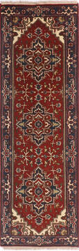 Indian vintage Multicolor Runner 6 to 9 ft Wool and Cotton Carpet 136498