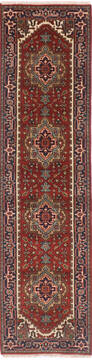 Indian vintage Multicolor Runner 6 to 9 ft Wool and Cotton Carpet 136502