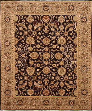 Pakistani Zigler Brown Rectangle 8x10 ft Wool Carpet 136510