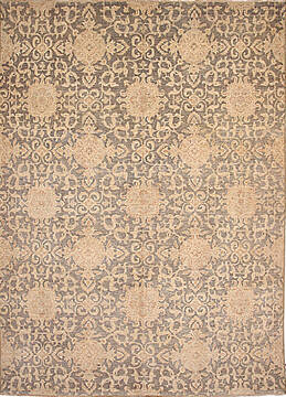 Pakistani Ziegler Beige Rectangle 8x10 ft Wool Carpet 136514