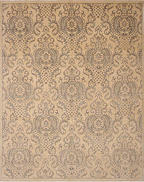 Pakistani Ziegler Beige Rectangle 8x10 ft Wool Carpet 136515