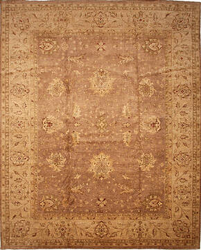 Pakistani Zigler Brown Rectangle 12x15 ft Wool Carpet 136518