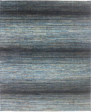 Indian Modern Blue Rectangle 9x12 ft Wool and Cotton Carpet 136520
