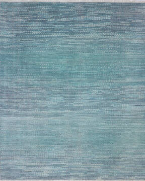 Indian Modern Blue Rectangle 8x10 ft Wool and Cotton Carpet 136524