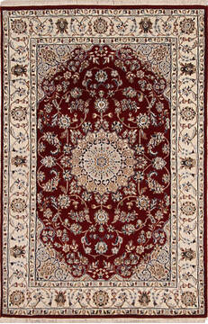 "Nain Red Hand Knotted 4'0"" X 6'0""  Area Rug 254-136536"