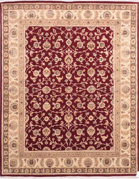 Indian Jaipur Red Rectangle 8x10 ft Wool and Silk Carpet 136544
